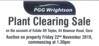 PLANT CLEARING SALE - A/C: ESTATE OF: SR TAYLOR