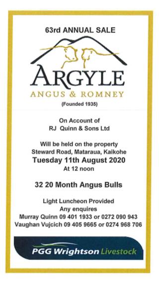 ARGYLE ANGUS BULL SALE