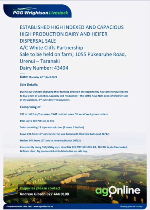 ESTABLISHED TOP HIGH INDEXED & CAPACIOUS HIGH PRODUCTION DAIRY & HEIFER DISPERSAL SALE