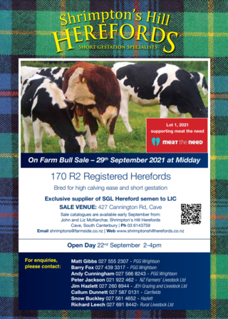 SHRIMPTON'S HILL HEREFORD YEARLING BULL SALE