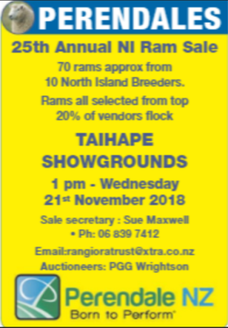 25TH ANNUAL NORTH ISLAND PERENDALE SALE - TAIHAPE SHOWGROUNDS