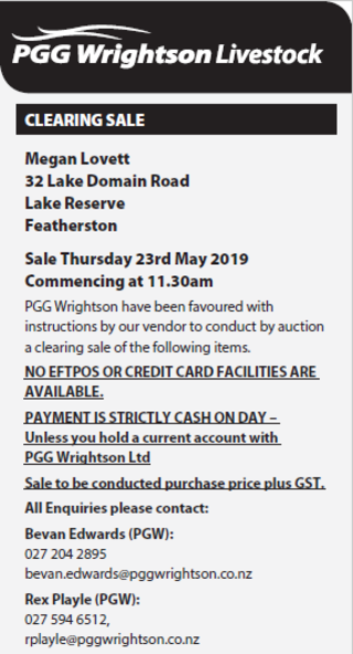 CLEARING SALE - A/C: MEGAN LOVETT - FEATHERSTON